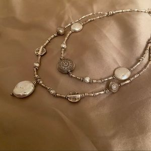 Jewelry - Stunning Statement Silver Necklace with Pearl
